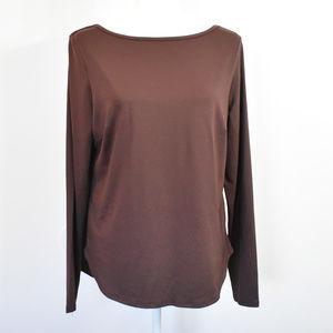 Joy Lab Long Sleeve Top Shirt Cut Out Plum sz XL